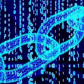 Blue blockchain against a black background with colored numbers through it