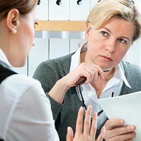 Business Meeting between two woman