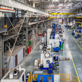 An inside view of a large manufacturing plant