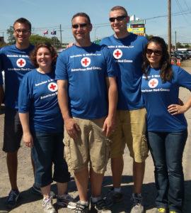 Employees of Dannible & McKee, Dalton, Charla, Sean and Sara wearing Red Cross t-shirt