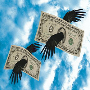 Two sets of bird wings carrying 100 dollar bills away