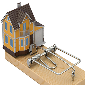 Small model of a home sitting on top of a mouse trap of sorts