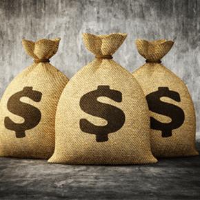 Three sacs with a dollar symbol on each