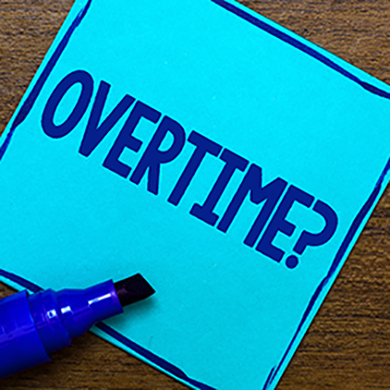 Blue sticky note questioning overtime