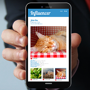 Mobile Phone Close Up With influencer App Open