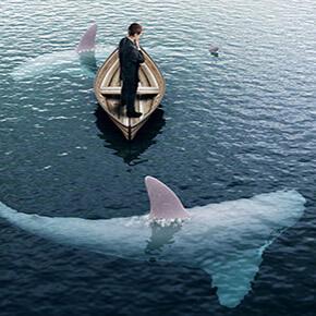 Sharks circling a man in small boat