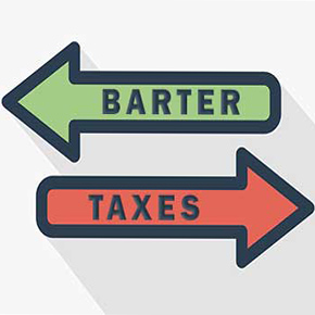 2 arrows pointing in opposite directions, one in green saying barter the other in red saying taxes