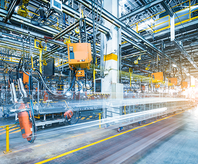 Robot equipment welding in a manufacturing factory