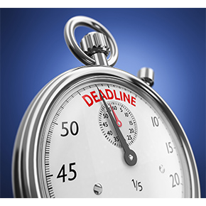 Stopwatch with the word deadline at top
