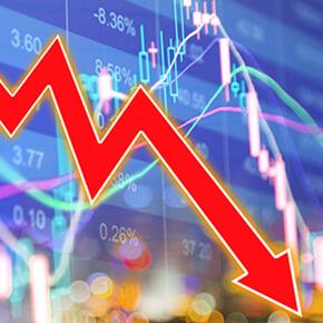 Stock market down red arrow