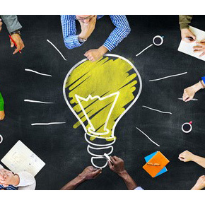 People around lightbulb idea