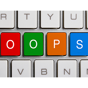 partial picture of keyboard with colored keys highlighting OOPS Typosquatters Fraud