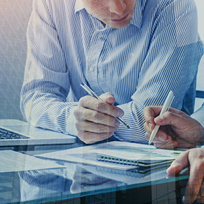 Two business people working together in the office, teamwork background banner, double exposure