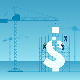 Graphic construction zone building a dollar sign