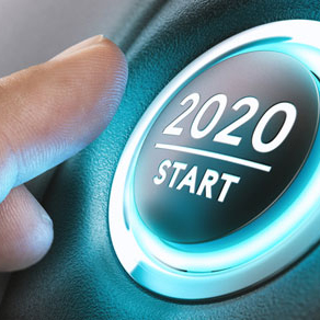 Round ignition button with 2020 with underscore and word start below that