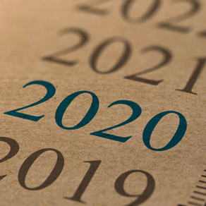 list of years 2019 through 2022 all written in Gray with the exception of 2020 which is written in Blue