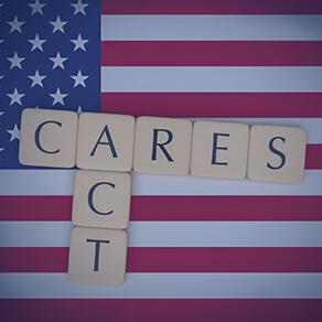Letter tiles CARES Act On US Flag, 3d illustration