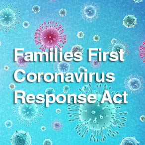 COVID virus particles in background with Families First Coronavirus Response Act caption