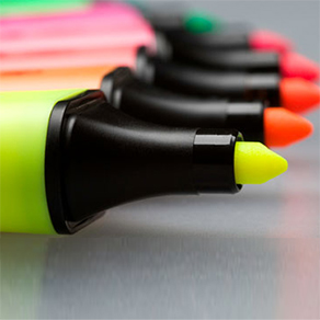 Yellow, Orange, Red, Pink Green markers