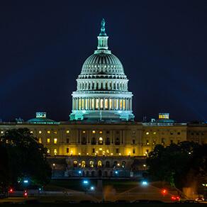 US Capital Washington DC illuminated in Blue