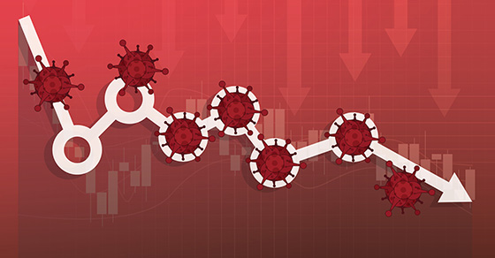 Coronavirus molecules on white circles and arrow, red background with red arrows