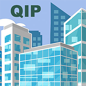 Blue and White buildings with initials QIP