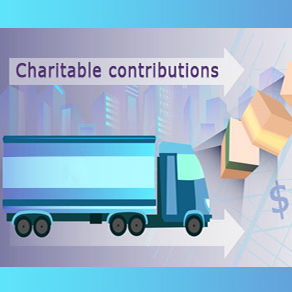 Clip art delivery truck with boxes of charitable contributions for COVID-19