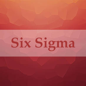 Red background with the words six sigma in a faded white box