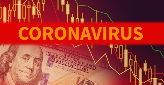 The word Coronavirus in red - Ben Franklin's picture and partial view of $100 bill with colorful graph - indicating how the virus is affecting us financially