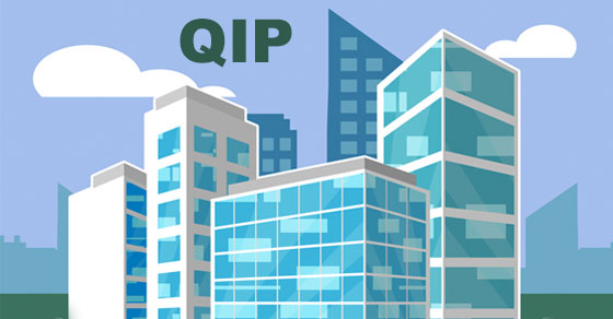 blue and white buildings with clouds and QIP letters
