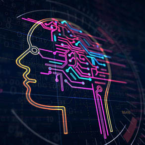outlined neon colored head indicating software intelligence