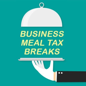 Teal box with serving tray expressing tax breaks for business meals