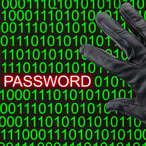 Green ones and zeros surrounding the word password in red with black glove to side
