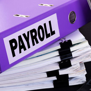 Stacks of papers with purple binder on top with the word payroll on side