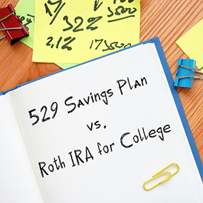 Open book with 529 Savings Plan vs. Roth IRA for College on page