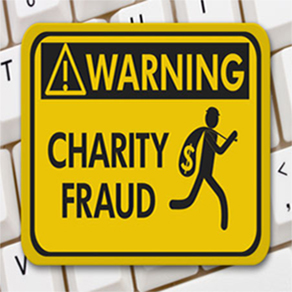 Warning sign for charity fraud with man silhouette running away with money bag