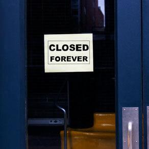 Glass door with sign