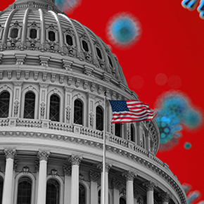 Capitol building with American flag in front and COVID-19 molecule background