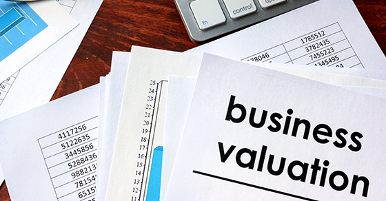 Business valuation written in a document and business documents