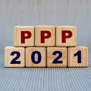 letters in red PPP numbers saying 2021 wooden blocks