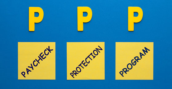 Blue background with yellow caption Paycheck Protection Program