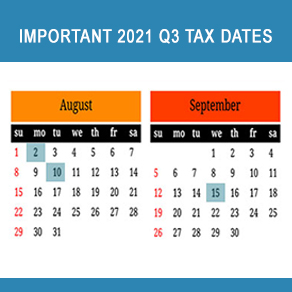 Calendar showing August 2,10 and September 15 highlighted as important tax dates