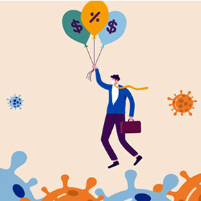 Cartoon business man floating over virus like icons with balloons with dollar and percent signs on them