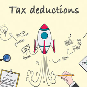 """""""Cartoon"""" looking rocket being drawn by a hand along with doodles to illustrate a process and the words """"tax deductions"""""""