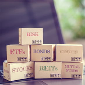 """Boxes stacked on top of each other with the financial words on them including """"Risk,"""" """"EFT,"""" """"Bonds"""""""
