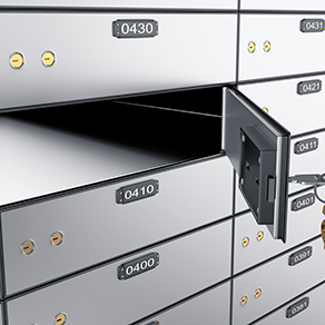 Picture of Safe Deposit Boxes with one openes